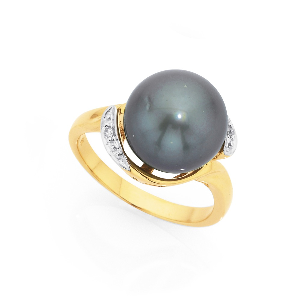 9ct Tahitian Pearl & Diamond Ring