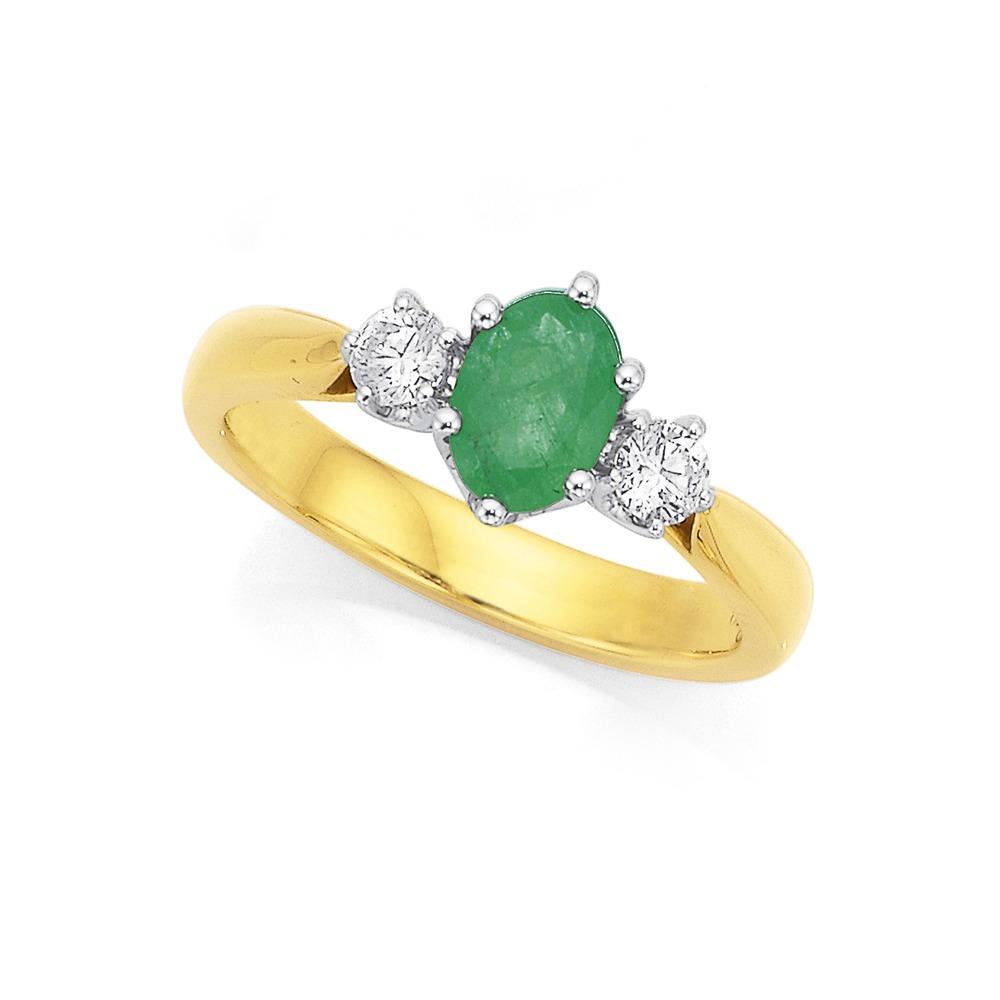 18ct, Emerald & Diamond Ring Total Diamond Weight=.25ct