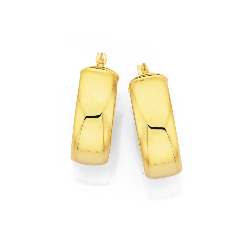 9ct Gold, Oval Hoops 8mm