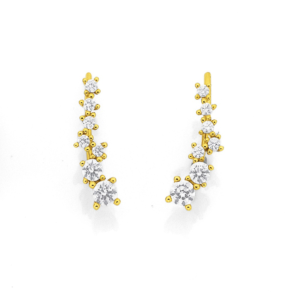 9ct Cubic Zirconia Ear Climbers