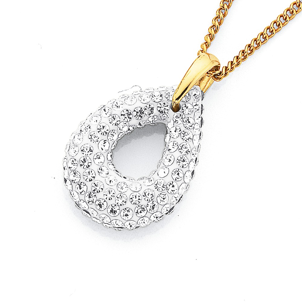 9ct Crystal Set Pendant