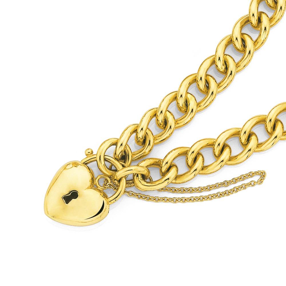 9ct 19cm Handmade Curb Padlock Bracelet