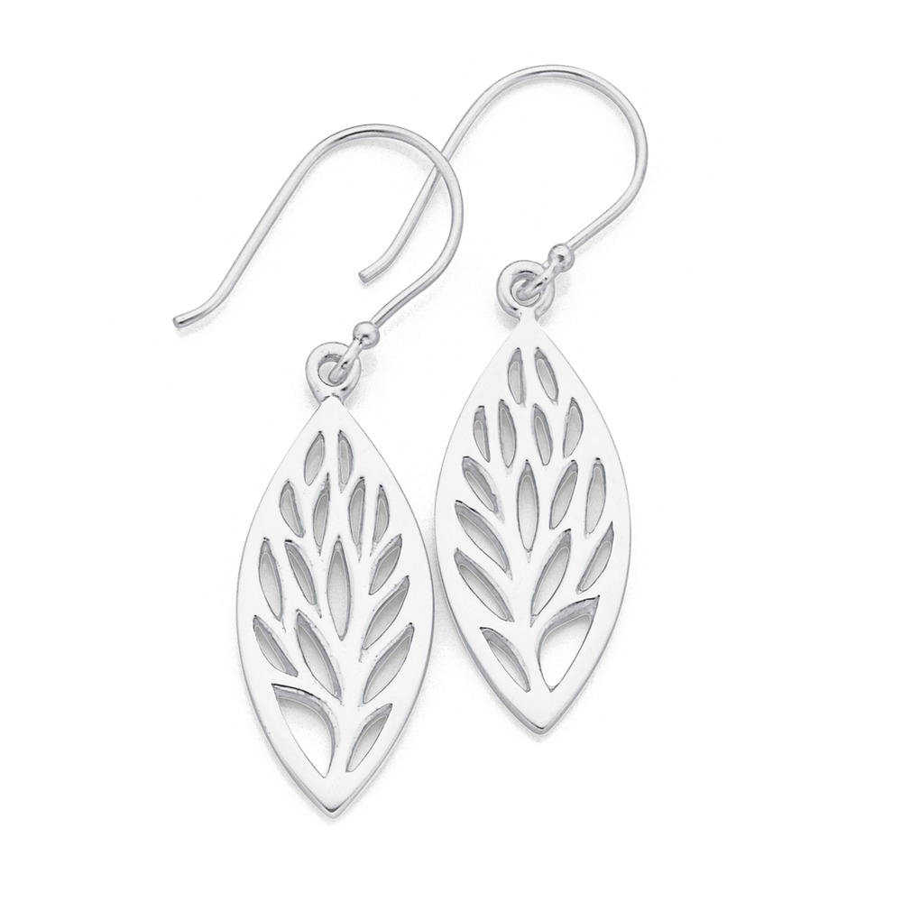 Sterling Silver Marquirse Leaf Earrings