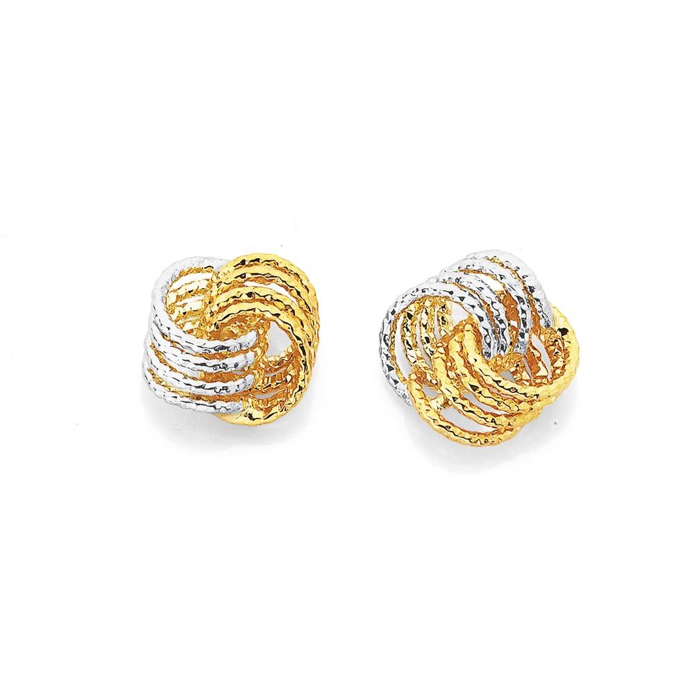 9ct Two Tone Diamond Cut Knot Studs