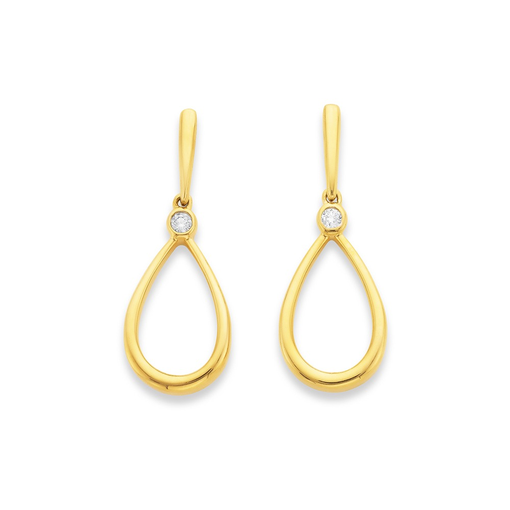 9ct Pear Shape Drop Earrings with Diamond