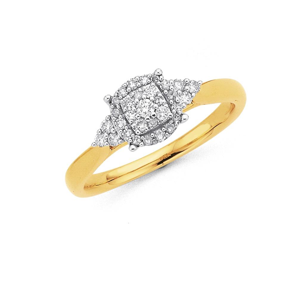 9ct Halo Diamond Ring Total Diamond Weight=.25ct