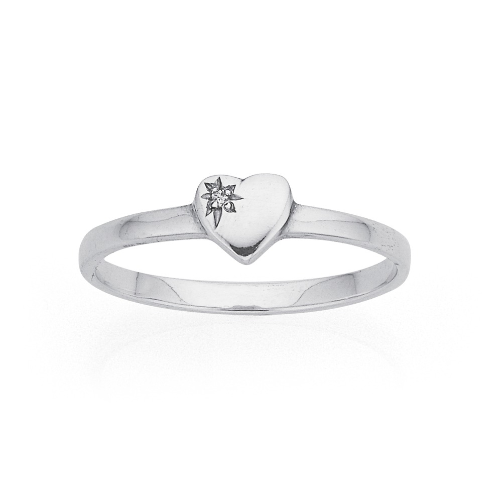 Sterling Silver Heart With Diamond Ring