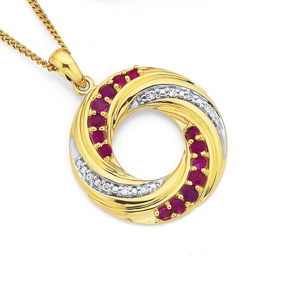 9ct Ruby and Diamond Twist Pendant