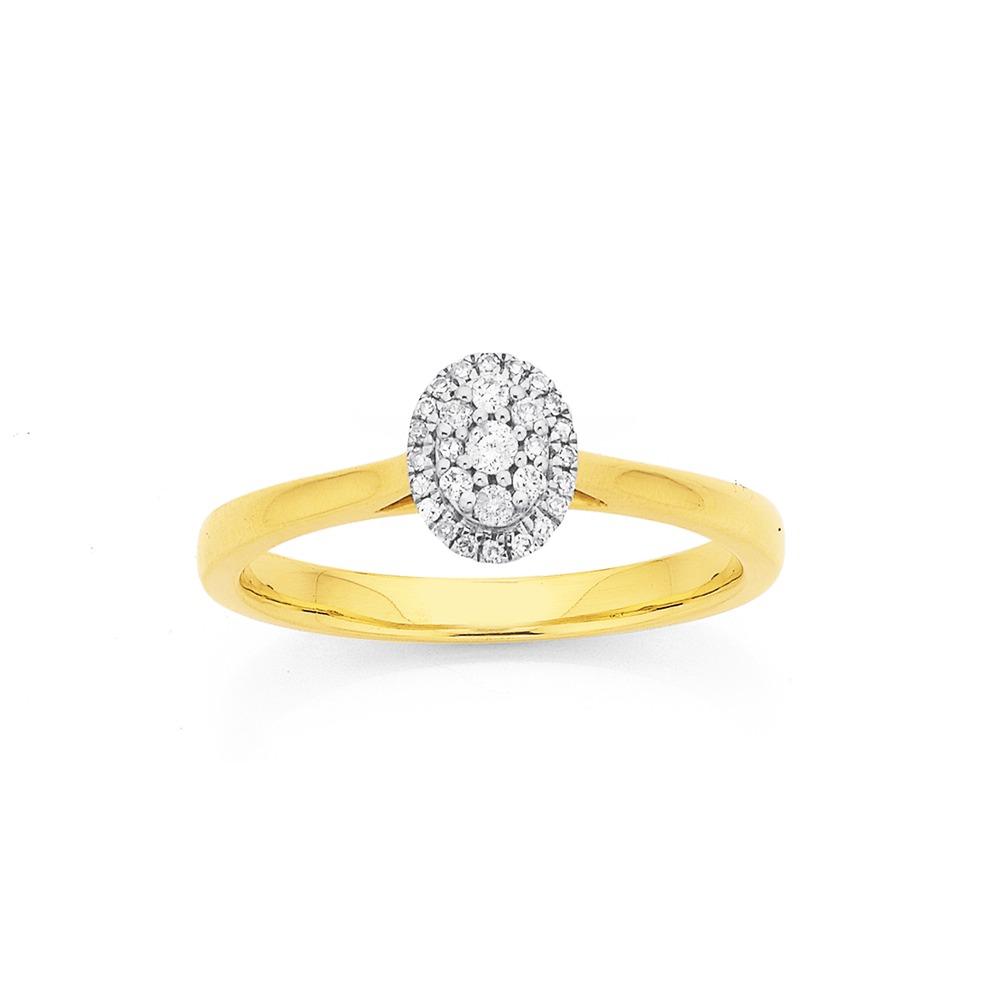 9ct Diamond Set Oval Cluster Ring