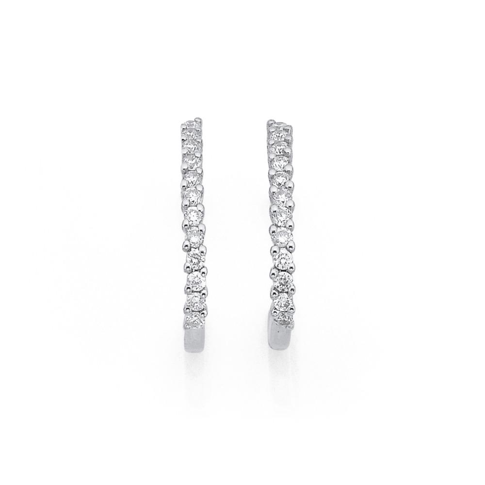 9ct White Gold Diamond Half Hoops Total Diamond Weight=.25ct
