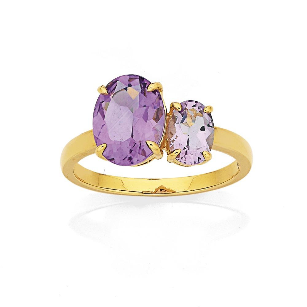 Eliza 9ct Amethyst and Pink Amethyst Ring