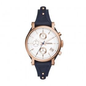 Fossil-Ladies-Original-Boyfriend-Chronograph-Rose-Gold-Blue-Leather-Strap on sale