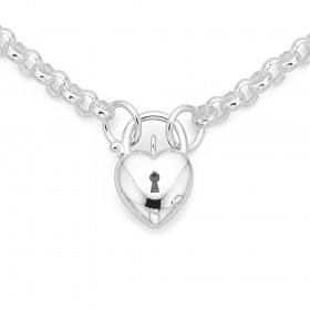 Sterling-Silver-45cm-Belcher-Chain-with-Heart-Padlock on sale