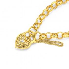 9ct-19cm-Belcher-Filligre-Padlock-Bracelet on sale