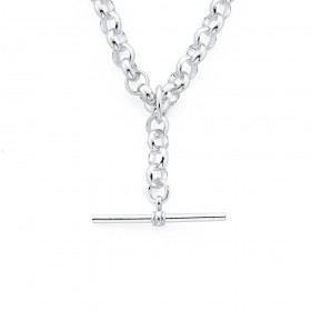 Sterling-Silver-45cm-Belcher-Chain-with-T-Bar-Fob on sale