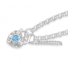 Sterling-Silver-19cm-Belcher-Bracelet-with-Blue-Topaz-Padlock on sale