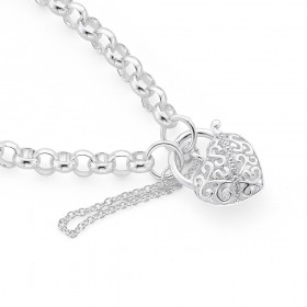Sterling-Silver-20cm-Belcher-Bracelet-with-Cubic-Zirconia-Padlock on sale