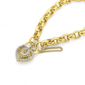 9ct-19cm-Solid-Belcher-Padlock-Bracelet on sale