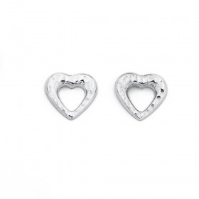 9ct-White-Gold-Heart-Studs on sale