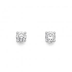 9ct-White-Gold-Diamond-screw-back-Studs on sale