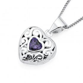 Sterling-Silver-Purple-Cubic-Zirconia-Heart-Locket on sale
