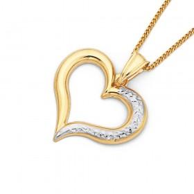 9ct-Two-Tone-Diamond-Cut-Open-Heart-Pendant on sale