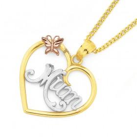9ct-Tri-Tone-Mum-Heart-Pendant on sale