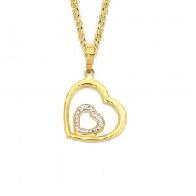 9ct-Two-Tone-Double-Heart-Pendant on sale