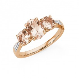 9ct-Rose-Gold-Morganite-Diamond-Ring on sale