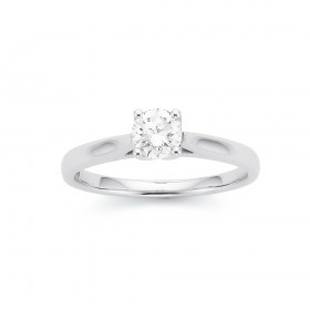 18ct-White-Gold-.50ct-Diamond-Solitaire-Tulip-Set-Ring on sale