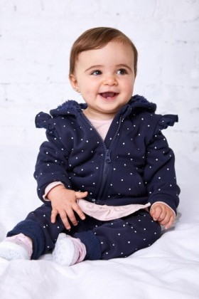 Pumpkin-Patch-Navy-Spot-Fleece-Hoodie-with-Frill on sale