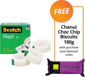 Scotch-Magic-Invisible-Tape-FREE-CHANUI-CHOC-CHIP-BISCUITS-180G-WITH-PURCHASE on sale