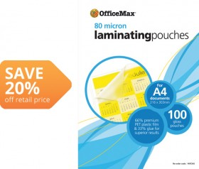 OfficeMax-Glossy-Finish-Laminating-Pouches on sale