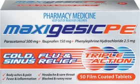 Maxigesic-PE-Cold-Flu-Sinus-Relief-Tablets-50s on sale