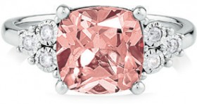 NEW-Ring-with-Created-Peach-Sapphire-0.10-Carat-TW-of-Diamonds-in-Sterling-Silver on sale