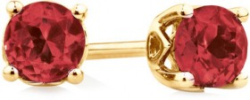 4mm-Stud-Earrings-with-Created-Ruby-in-10ct-Yellow-Gold on sale