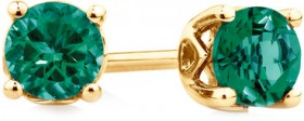 4mm-Stud-Earrings-with-Created-Emerald-in-10ct-Yellow-Gold on sale