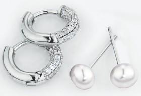 Earring-Gift-Set-with-Cultured-Freshwater-Pearl-Cubic-Zirconia-in-Sterling-Silver on sale