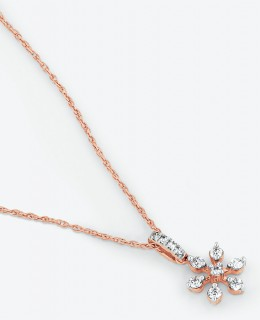 NEW-Flower-Pendant-with-0.10-Carat-TW-of-Diamonds-in-10ct-Rose-Gold on sale