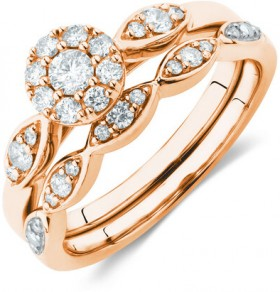 Bridal-Set-with-0.40-Carat-TW-of-Diamonds-in-10ct-Rose-Gold on sale