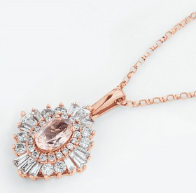 NEW-Pendant-with-Natural-Morganite-0.50-Carat-TW-of-Diamonds-in-10ct-Rose-Gold on sale