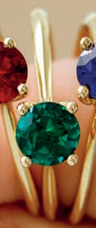 NEW-Ring-with-Created-Emerald-in-10ct-Yellow-Gold on sale
