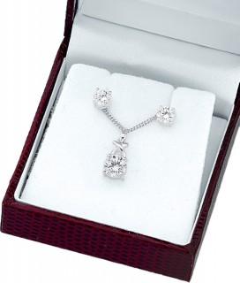 Sterling-Silver-Cubic-Zirconia-Pendant-Earring-Set on sale