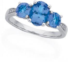 9ct-White-Gold-Three-Stone-Tanzanite-Diamond-Ring on sale