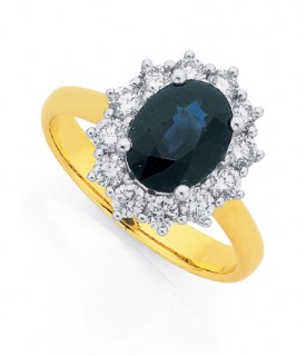 9ct-Royal-Blue-Natural-Sapphire-Diamonds-Ring on sale