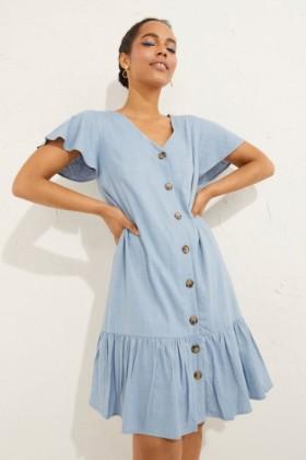 Emerge-Linen-Ruffle-Hem-Dress on sale