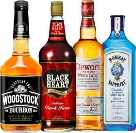 Woodstock-Bourbon-1L-Black-Heart-Rum-1L-Dewars-Scotch-Whisky-1L-or-Bombay-Sapphire-Gin-700ml on sale
