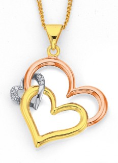 9ct-Diamond-Tri-Tone-Heart-Pendant on sale