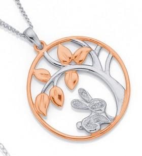 Sterling-Silver-Rose-Gold-Plated-Bunny-and-Tree-Pendant on sale