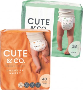 Cute-Co.-Bulk-Nappies-28-46-Pack-or-Nappy-Pants-26-30-Pack on sale